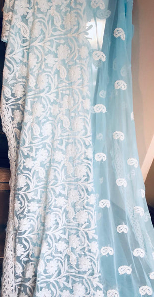 Sky Blue and White Handwoven Pure Lucknow Chikankari Saree
