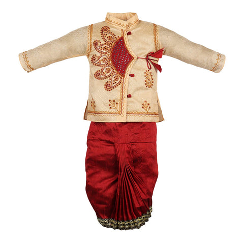 Baby Boy's Silk Cotton Blend Dhoti Kurta Pyjama Dress (Multicolour, 6-9 Months)