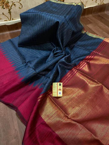 Deep Blue Grey and Maroon Handloom Bhagalpur Tussar Raw Silk Saree