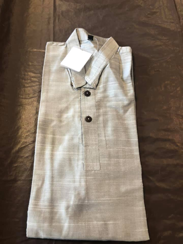 Silver & Grey Boys Pure Soft Dupion Silk Long Button Down Kurta's with Pocket
