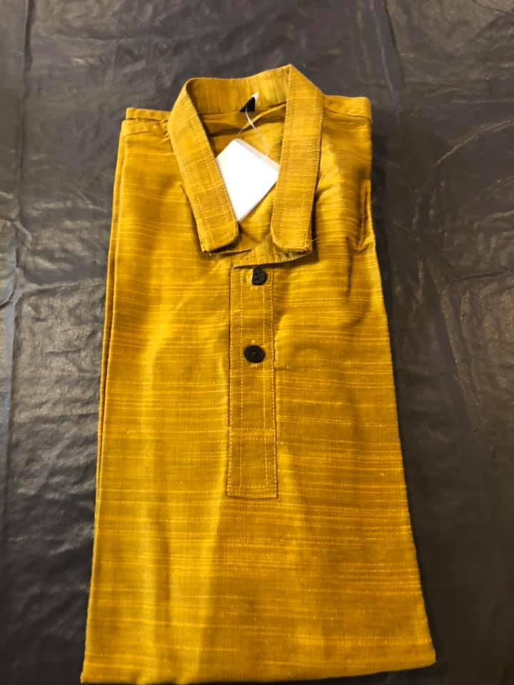 Mustard Boys Pure Soft Dupion Silk Long Button Down Kurta's with Pocket