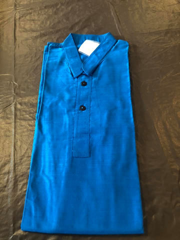 Blue Boys Pure Soft Dupion Silk Long Button Down Kurta's with Pocket