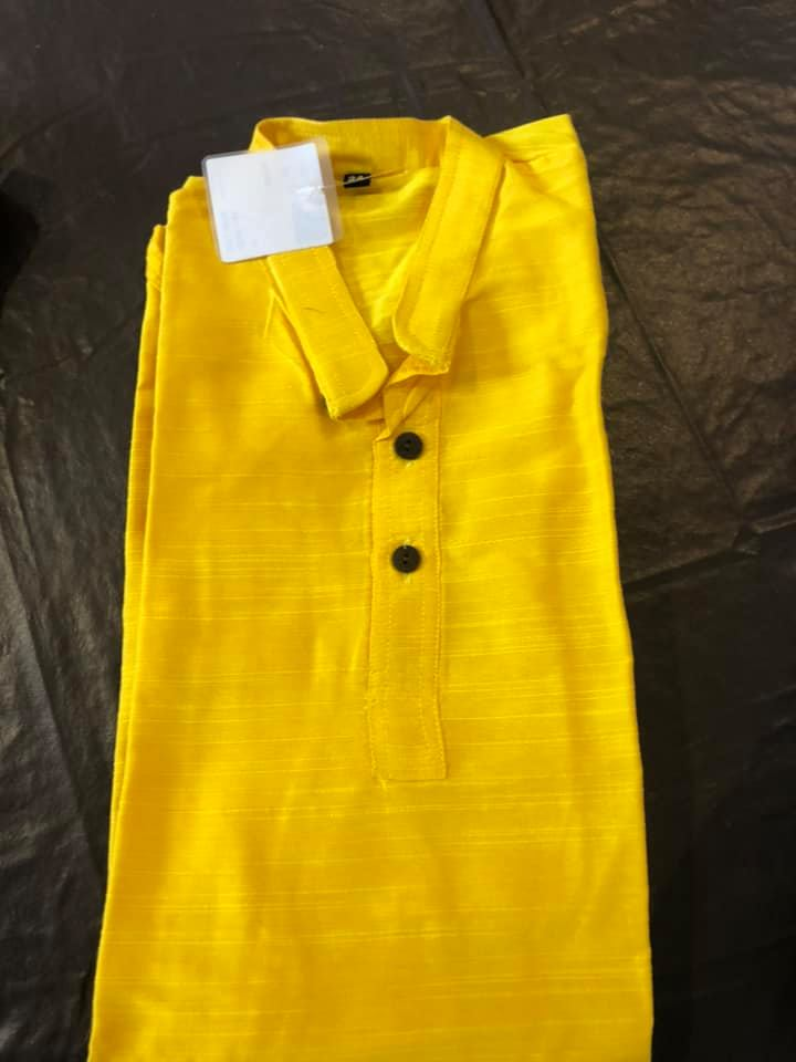 Yellow Boys Pure Soft Dupion Silk Long Button Down Kurta's with Pocket