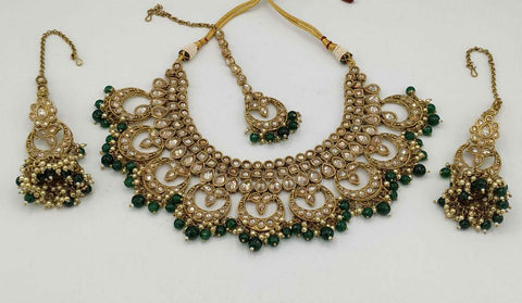 Deep Green Beads Kundan Choker Necklace Set & Matching Jhumka Earrings & Mang Tika