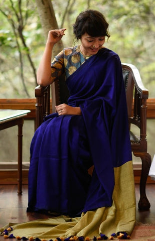 Royal Blue and Golden Mul Mul Cotton Saree