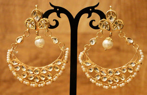 Gold Plated Chandbali Earring With White Stone