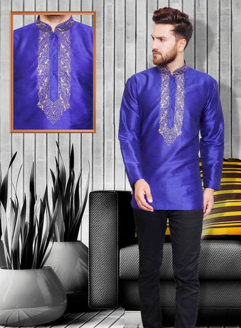 Deep Blue Colored Embroidered Silk Mens Short Kurta