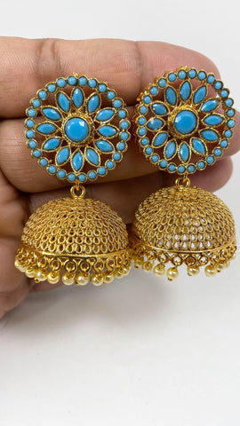 Gold Colored Jhumka Earrings with Sky Blue Stones