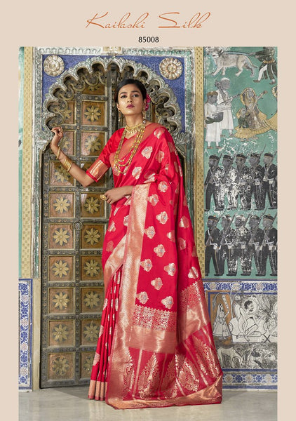 Red Colored Designer Silk Blend Saree