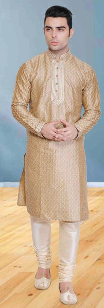 Beige Pure Silk Mens Long Kurta Pajama Set