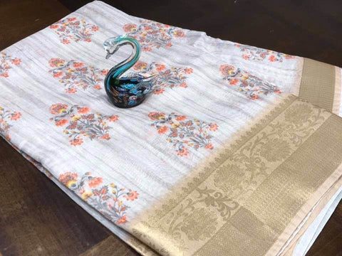 White Tussar Silk Saree with Floral Print with Gold Border