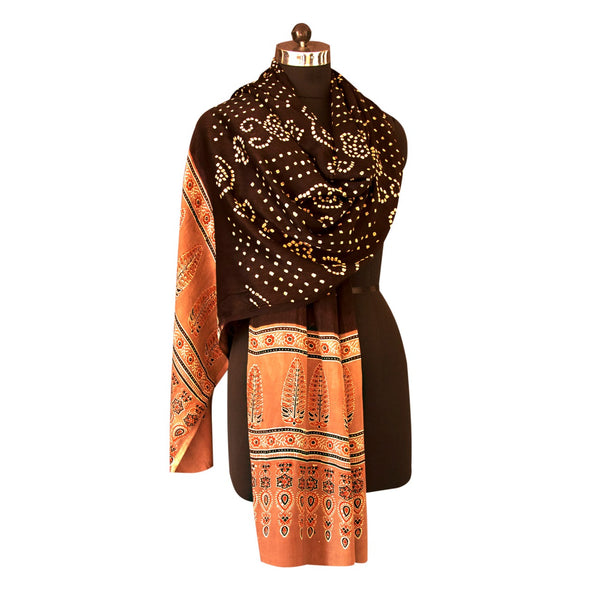 HandPrinted Black and Beige Bandhej and Ajrakh Dupatta
