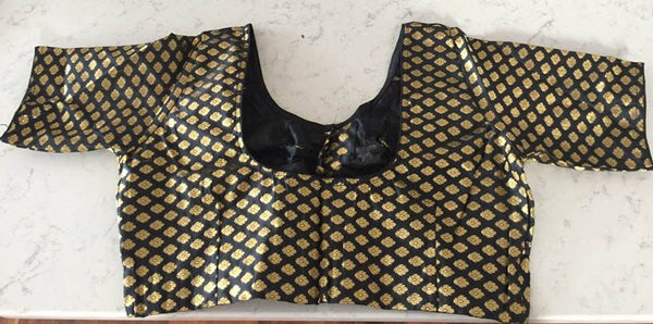 Black with Gold Design Blouse