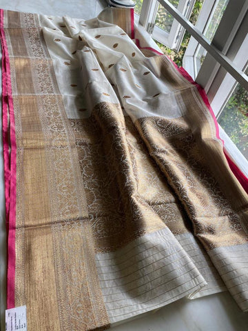 Ivory and Gold Pure Handloom Cotton Silk Saree