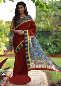 MAROON HANDLOOM COTTON SAREE WITH HAND PAINTED KALAMKARI PALLU & BLOCK PRINTED BORDER