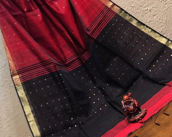 Black & Deep Maroon Soft Byloom Handloom Silk Cotton Saree with Zari Border