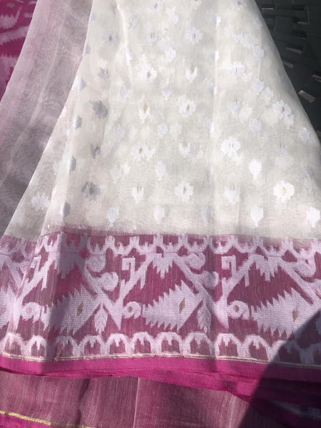 White and Purple all over Dhakai Jamdani with Golden Zari
