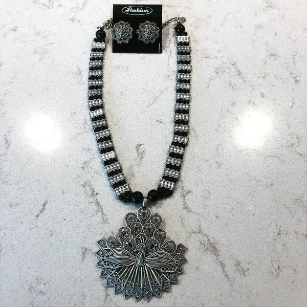 Peacock Shaped German Silver Black Colored Necklace Set with Earrings