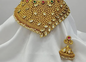 Gold Plated Kundan Copper Choker Necklace Set With Matching Earrings