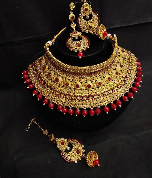 3 Piece Bridal Sets with Red Beads