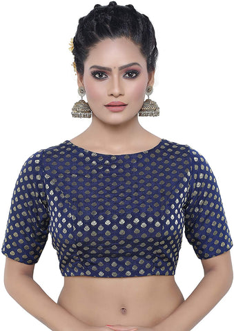 Navy Blue Brocade Dupion Silk Stitched Elbow Length Readymade Blouse