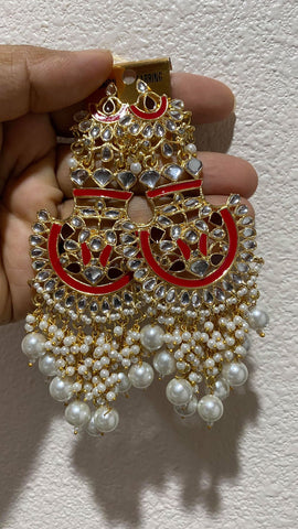 Red Hand Painted Kundan Pearl Earrings