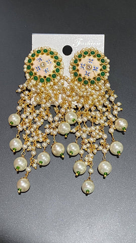 Green Stone Studded Kundan Pearl Earrings