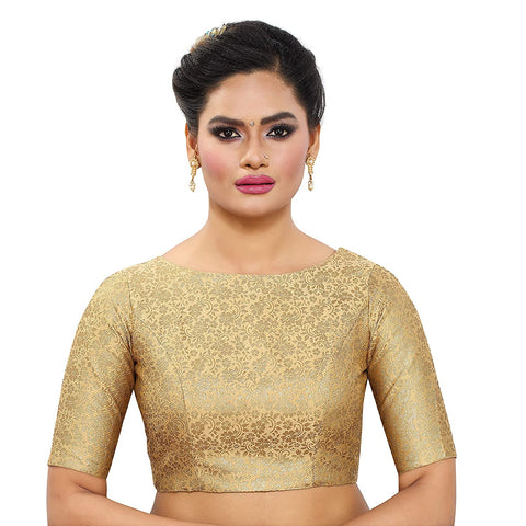Gold Brocade Silk Elbow Length Readymade Blouse