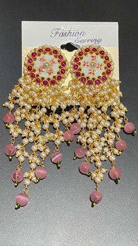 Pink Stone Studded Kundan Pearl Earrings with Pink Colored Beads
