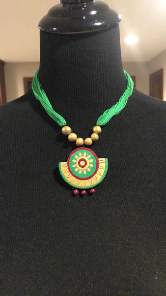 Green Terracotta Necklace And Earrings Set