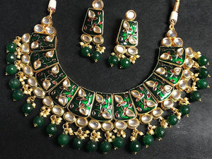 Gold Plated Green Large Beads Temple Design Necklace Set