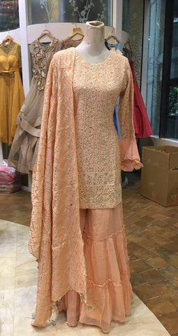 Peach Handcrafted Lucknowi Chikankari Suit with Palazzo Pants