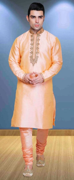Light Peach Pure Silk Mens Long Kurta Pajama Set
