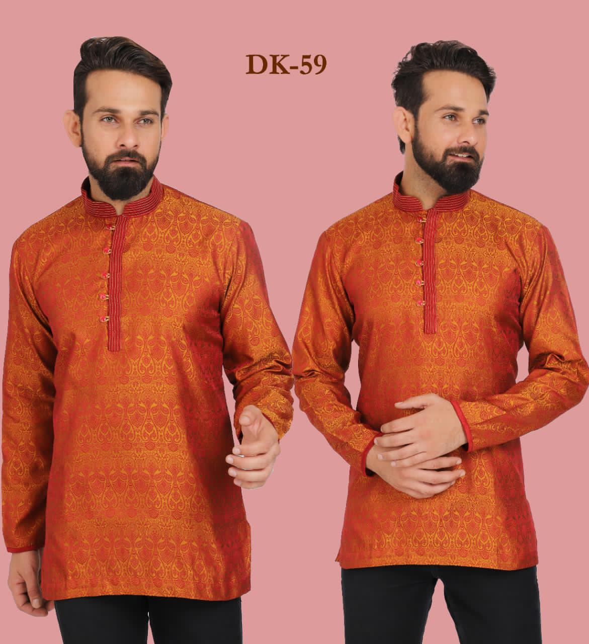 Rust Orange Embroidered Silk Mens Short Kurta