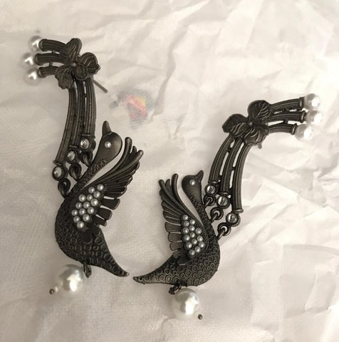 Unique Black Bird Designer Earrings with White Pearls