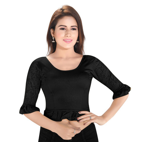 Black Lycra Stretchable Blouse (A-64)