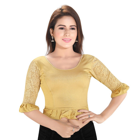Gold Lycra Stretchable Blouse (A-64)