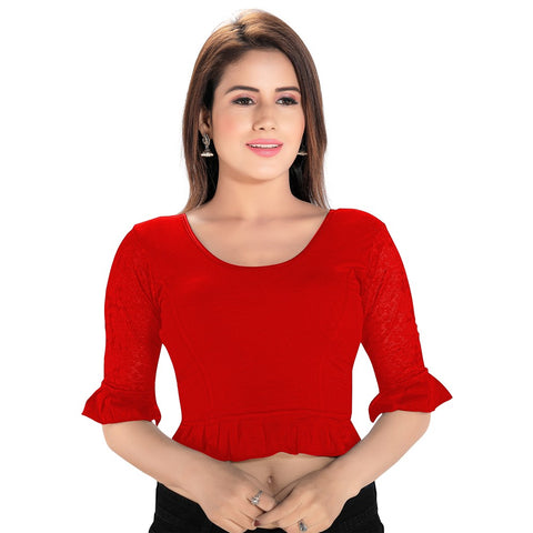 Red Lycra Stretchable Blouse (A-65)
