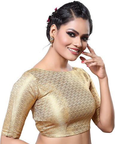 Gold Brocade Dupion Silk Stitched Elbow Length Readymade Blouse