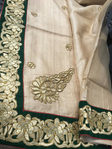 Pure Tussar Silk Saree With Green Velvet Zari Border