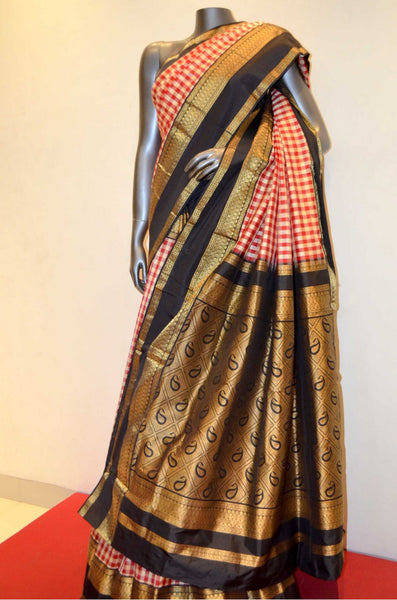 Red  and White Checks South Silk Saree With Contrast Border