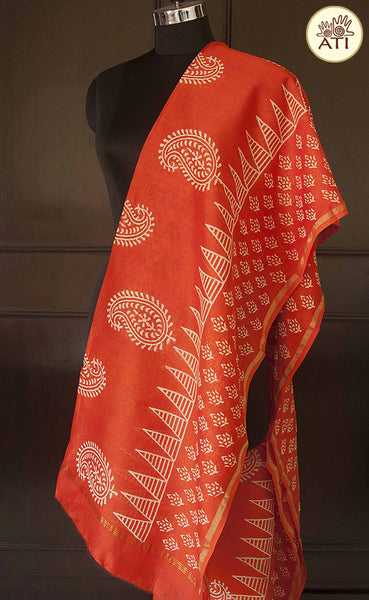 Block printed vermillion red Chanderi dupatta from Jyotismata