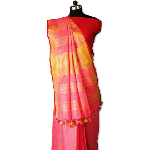 Peppermint Pink and Red Handwoven Bhagalpuri Linen Tussar Saree
