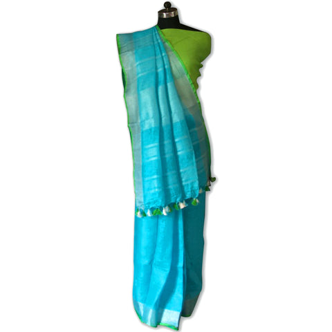 Sky Blue and Leaf Green Handwoven Bhagalpuri Linen Tussar Saree