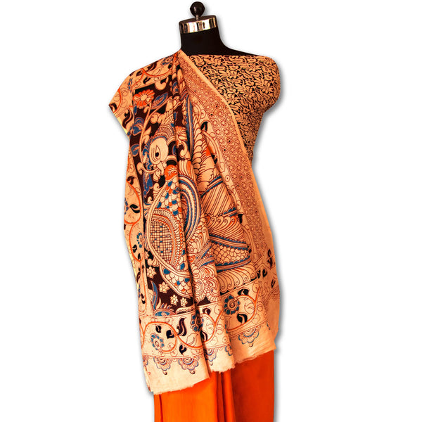 Turmeric Yellow Colored Hand Block Printed Kalamkari Silk Saree