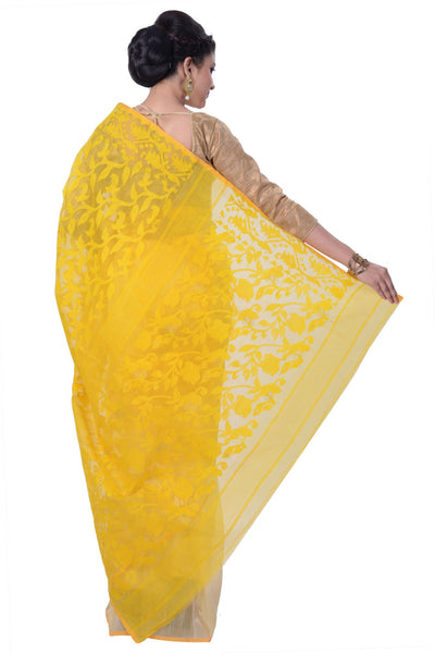 Yellow Jamdani Saree