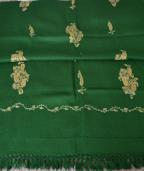 This Deep Green Paisley Wool Shawl is embroidered and will make a great addition to any attire_ Handmade in Kashmir,  Color : Dark Green * Gold