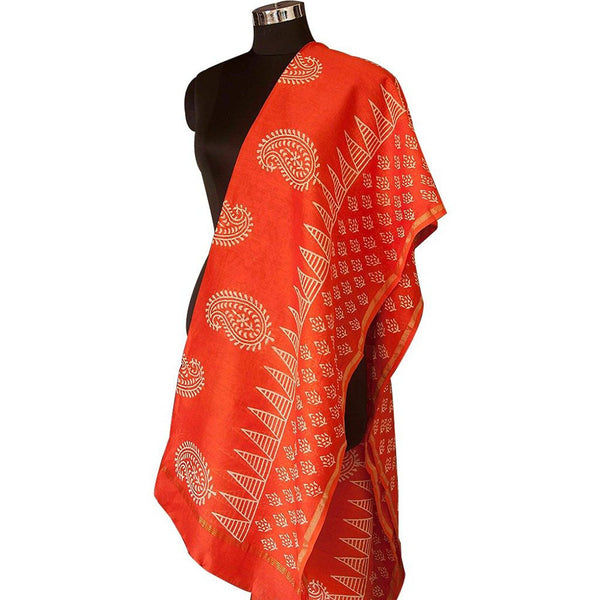 Block printed Vermilion Red Chanderi Dupatta from Jyotismata