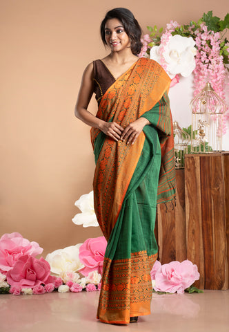 GREEN HANDLOOM DHANIAKHALIA COTTON SAREE WITH WOVEN TANGERINE BORDER