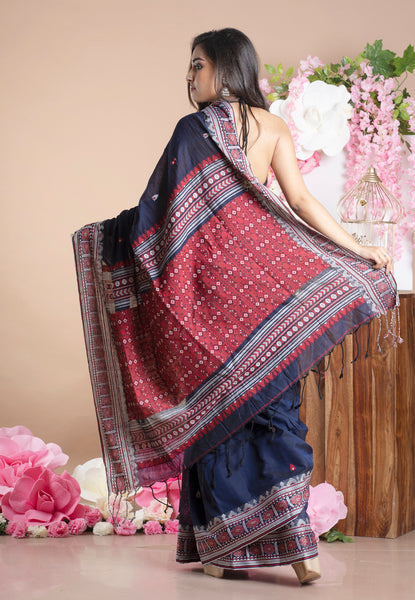 INK BLUE KHADI DHANIAKHALIA COTTON HANDLOOM SAREE WITH MULTICOLOR WOVEN MOTIFS